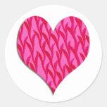 pink vine heart round stickers