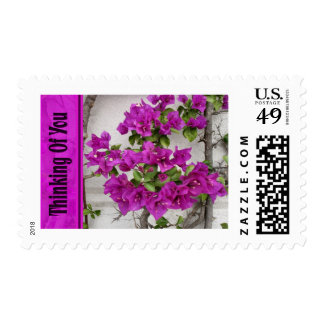 pink vine thinking of you postage stamps