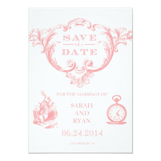 Pink Vintage Alice in Wonderland Save the Date Personalized Invitations