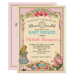 Pink Vintage Alice in Wonderland Tea Party Invite