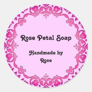 Pink Vintage Art Handmade Soap Labels Pink Bkd Classic Round Sticker