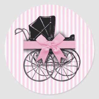 Pink Vintage Baby Carriage Pram with Ribbon Classic Round Sticker
