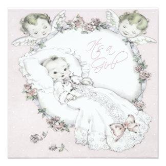 Pink Vintage Baby Girl Shower Invitations