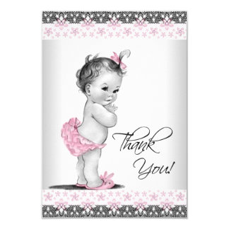 Pink Vintage Baby Girl Thank You 3.5x5 Paper Invitation Card
