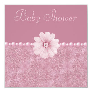 Pink Vintage Baby Shower Bling Flowers & Pearls Card
