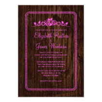 Pink Vintage Barn Wood Wedding Invitations Cards