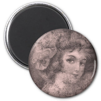Pink-Vintage beauty 2 Inch Round Magnet
