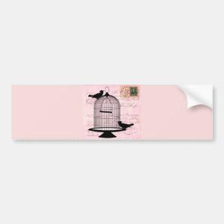 Pink Vintage Bird Bumper Stickers