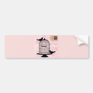 Pink Vintage Bird Car Bumper Sticker