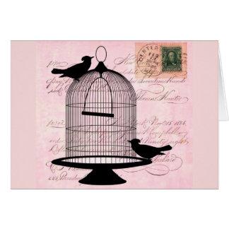 Pink Vintage Bird Card