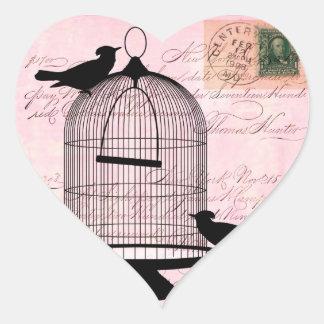 Pink Vintage Bird Heart Sticker