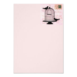"Pink Vintage Bird 5"" X 7"" Invitation Card"