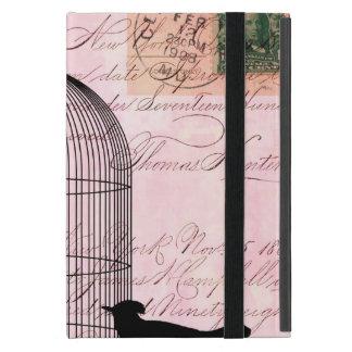 Pink Vintage Bird iPad Mini Covers