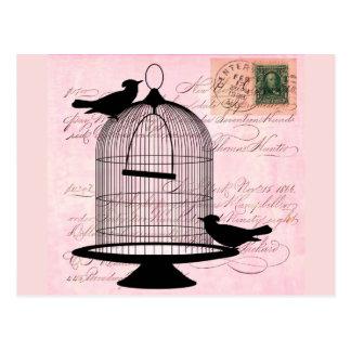 Pink Vintage Bird Postcard