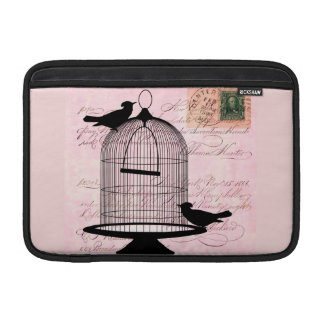 Pink Vintage Bird Sleeve For MacBook Air
