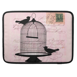 Pink Vintage Bird Sleeve For MacBook Pro