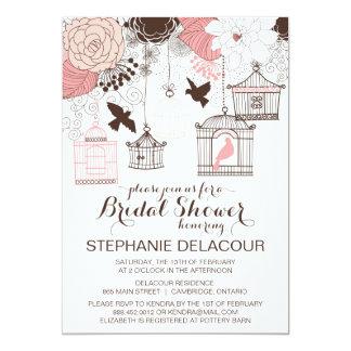 Pink Vintage Birdcage Bridal Shower Invitation