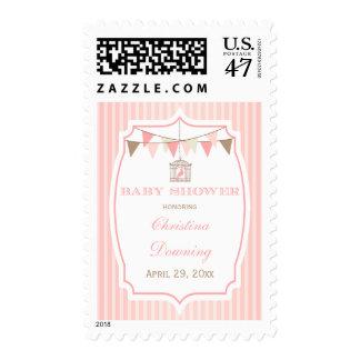 Pink vintage birdcage + stripes baby shower stamps