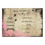 Pink Vintage Birdcage Wedding RSVP Personalized Announcements