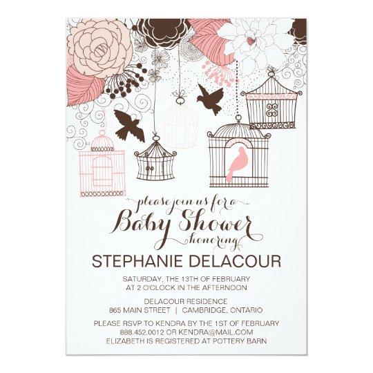 Pink Vintage Birdcages Baby Shower Invitation