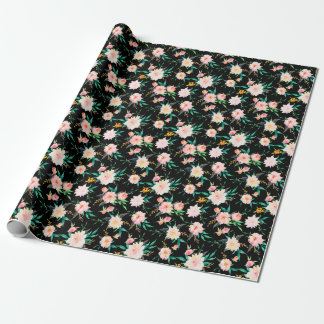 Pink Vintage Black White Floral Watercolor Pattern Wrapping Paper