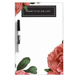 Pink Vintage Botanical Flowers | Dry Erase Board