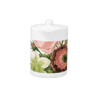Pink Vintage Bouquet Teapot at Zazzle