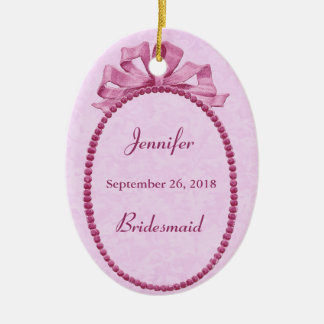 Pink Vintage Bow Bridesmaid Thank You Wedding Ceramic Ornament