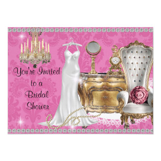 PINK VINTAGE BRIDAL SHOWER INVITATION DAMASK