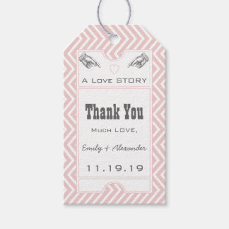 Pink Vintage Broadway Ticket Wedding Thank You Gift Tags