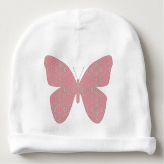 Pink Vintage Butterfly Baby Beanie