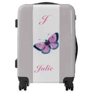 pink vintage butterfly luggage