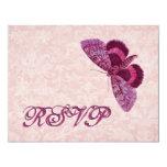 Pink Vintage Butterfly RSVP Wedding Custom Invitations