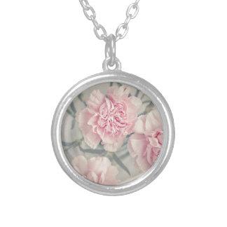 Pink Vintage Carnations Round Pendant Necklace