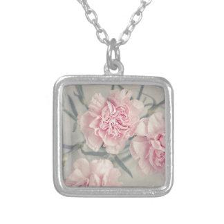Pink Vintage Carnations Square Pendant Necklace