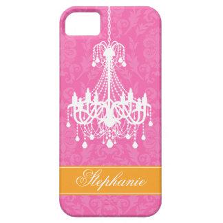 Pink Vintage Chandelier and Damask Pattern iPhone SE/5/5s Case