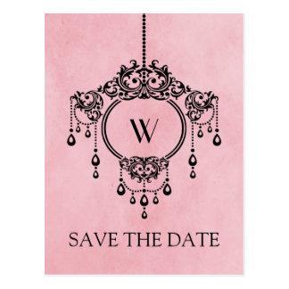 Pink Vintage Chandelier Save the Date Postcard