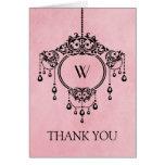 Pink Vintage Chandelier Thank You Card