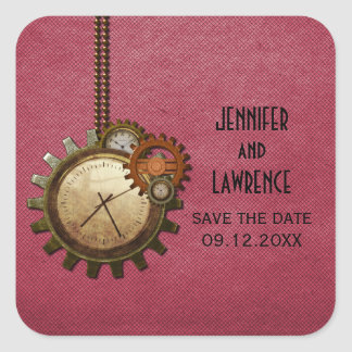 Pink Vintage Clock Save the Date Stickers