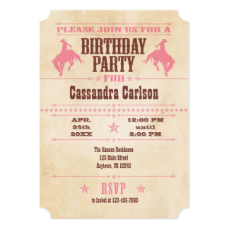 Pink Vintage Cowboy Birthday Invitation