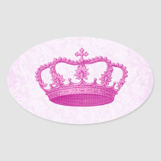 Pink Vintage Crown Pattern Oval Sticker