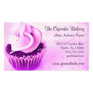 Pink Vintage Cupcake Sprinkles Business Cards