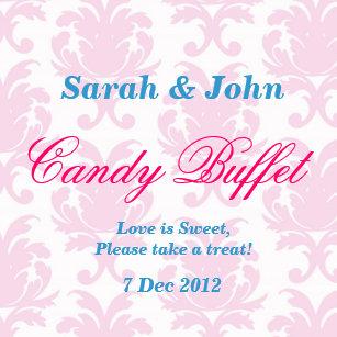 pink vintage damask candy buffet sticker