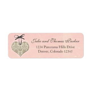 Pink Vintage Damask Heart Wedding Return Address Return Address Label