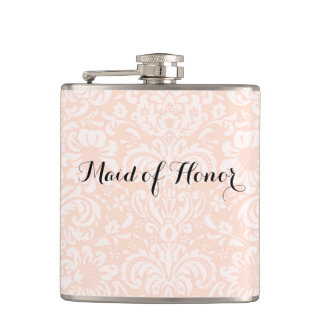 Pink Vintage Damask Maid of Honour Flask