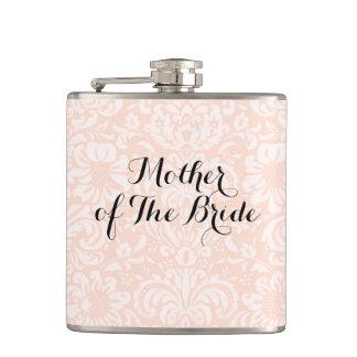 Pink Vintage Damask Mother of The Bride Flask