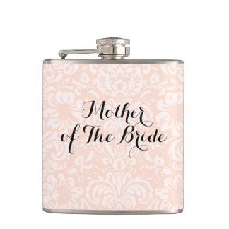 Pink Vintage Damask Mother of The Bride Flask