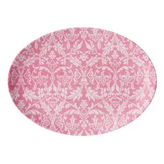 Pink Vintage Damask Platter You Personalize A01. Porcelain Serving Platter
