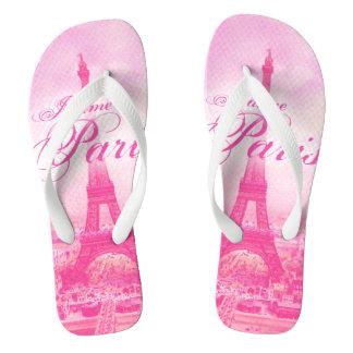 Pink Vintage Eiffel Tower Flip Flops