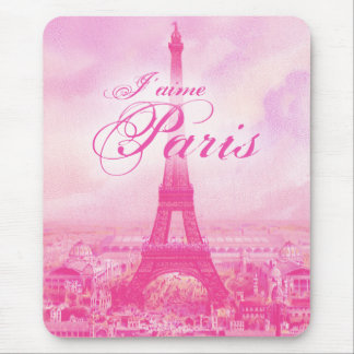 Pink Vintage Eiffel Tower Mouse Pad